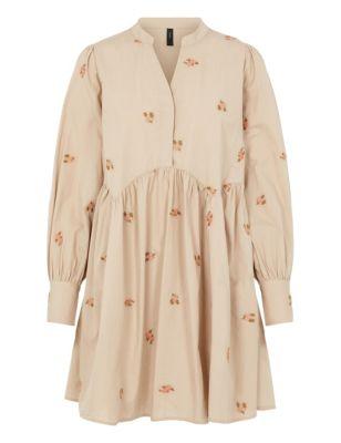 Organic Cotton Floral V-Neck Smock Dress