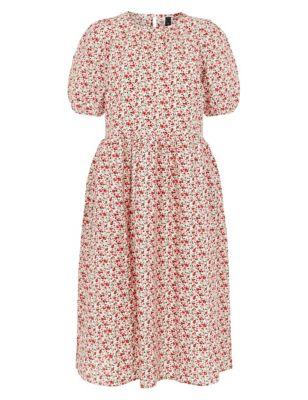 Floral Puff Sleeve Midi Smock Dress