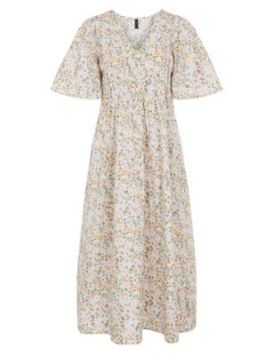 Pure Cotton Floral V-Neck Midi Smock Dress