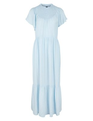 High Neck Angel Sleeve Maxi Tiered Dress