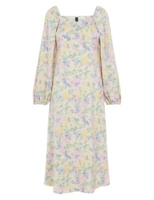 Floral Square Neck Midi Tea Dress
