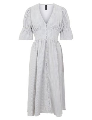 Pure Cotton Striped Midi Waisted Dress