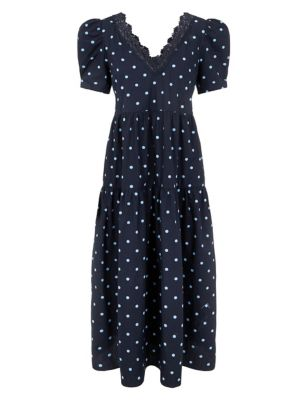 Organic Cotton Polka Dot Midaxi Smock Dress
