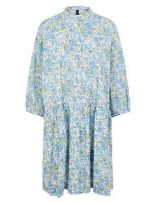 Organic Cotton Floral High Neck Smock Dress