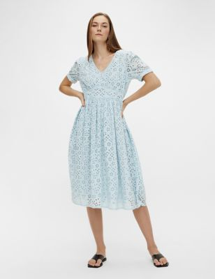 Pure Cotton Broderie V-Neck Midi Tea Dress