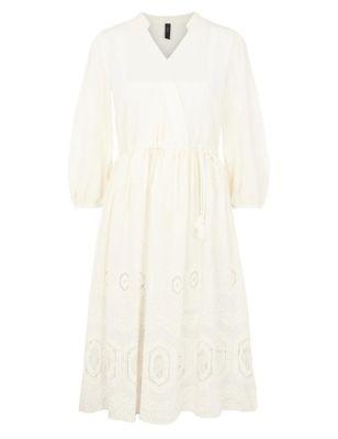 Cotton Embroidered V-Neck Midi Smock Dress