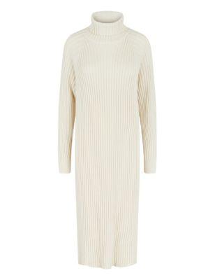 Cotton Roll Neck Midaxi Jumper Dress