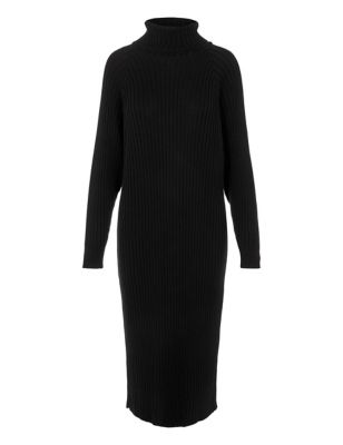 Cotton Knitted Roll Neck Midaxi Dress