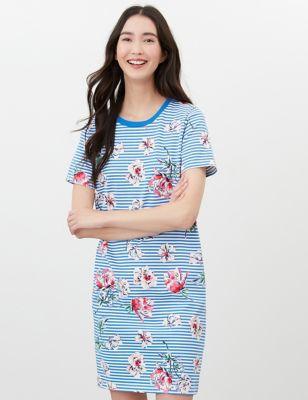 Pure Cotton Floral Striped T-Shirt Dress