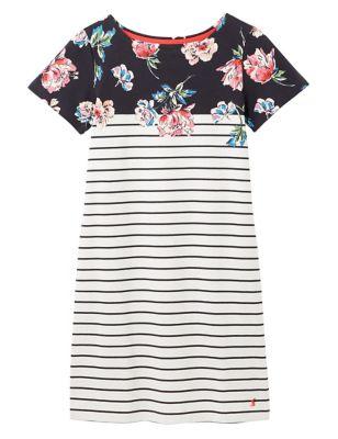 Pure Cotton Striped Print T-Shirt Dress