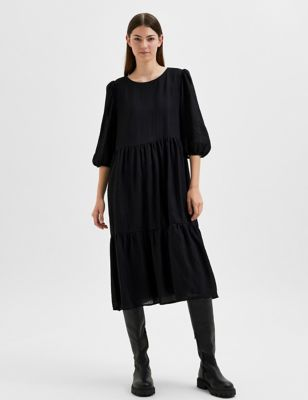 Round Neck Midi Tiered Smock Dress