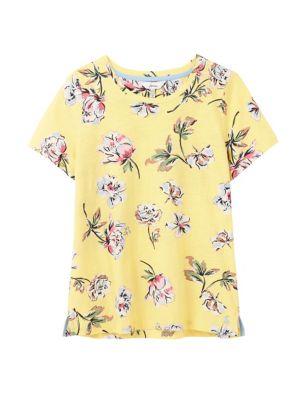 Pure Cotton Floral Crew Neck T-Shirt