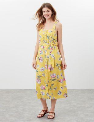 Floral Midi Tea Dress with Linen