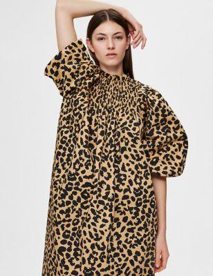 Cotton Animal Print High Neck Smock Dress