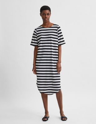 Striped Belted Midi Beach Dress
