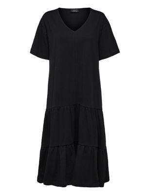 Organic Cotton V-Neck Midi T-Shirt Dress