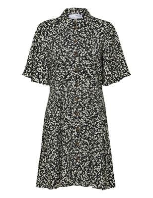 Printed Knee Length Shirt Dress