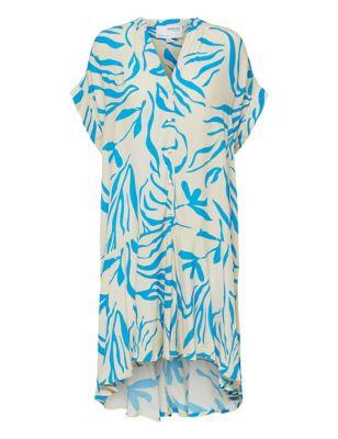 Printed V-Neck MidiShirt Dress