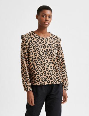 Cotton Animal Print Sweatshirt