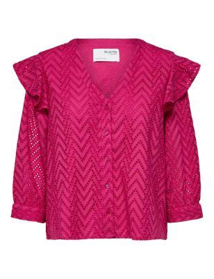Organic Cotton Lace V-Neck 3/4 Sleeve Shirt