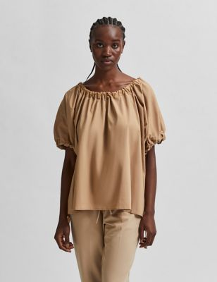 Cotton Puff Sleeve Top
