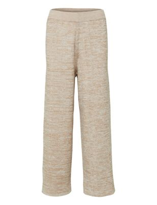 Pure Cotton Knitted Wide Leg Joggers