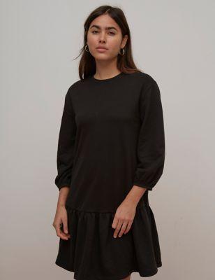 Organic Cotton Round Neck Mini Smock Dress
