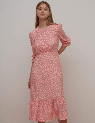 Floral Midaxi Waisted Dress