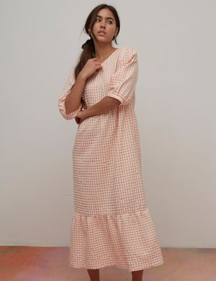 Cotton Checked Midaxi Tiered Smock Dress
