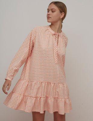 Organic Cotton Checked Mini Smock Dress