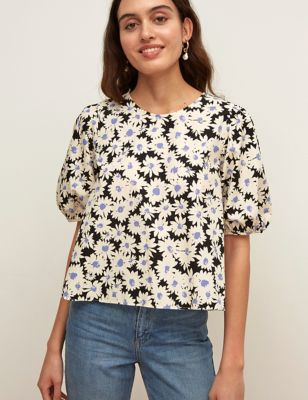 Organic Cotton Floral Puff Sleeve Top