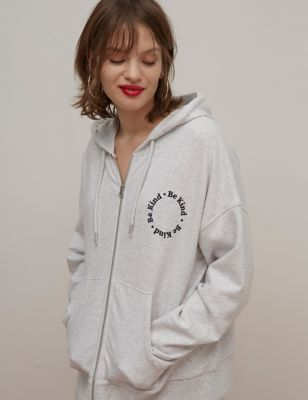 Cotton Embroidered Zip Up Longline Hoodie