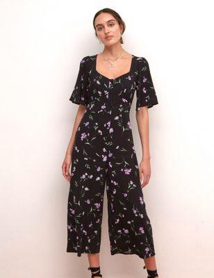 Floral Short Sleeve Cropped Jumpsuit