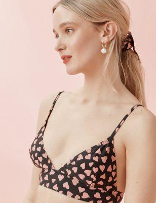 Heart Print Padded Bikini Top