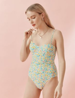Floral Wired Padded Square Neck Swimsuit