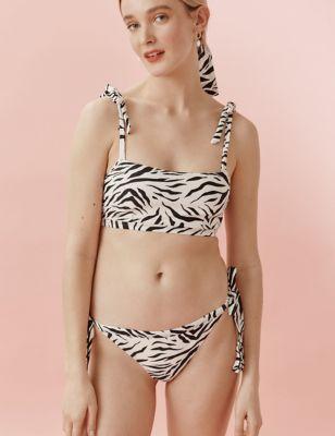 Zebra Print Bandeau Bikini Top