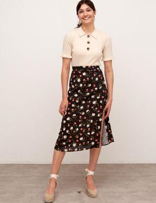 Floral Side Split Midi A-Line Skirt