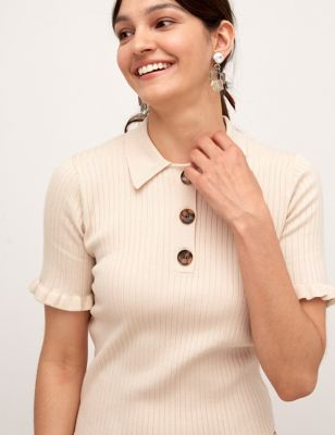 Knitted Ribbed Collared Short Sleeve Top