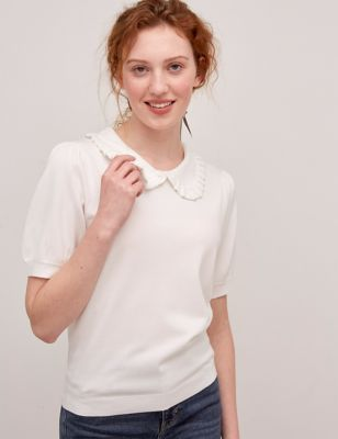 Knitted Collared Short Sleeve Top