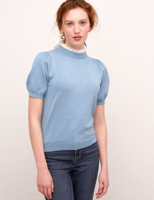 Knitted Funnel Neck Short Sleeve Top