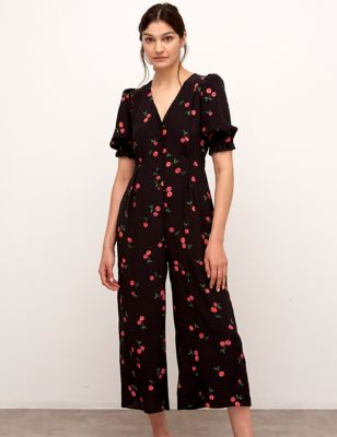 Cherry Print Short Sleeve Cropped Jumpsuit