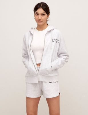 Cotton Embroidered Relaxed Hoodie