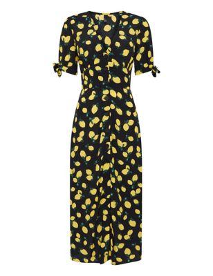 Lemon Print V-Neck Midaxi Tea Dress