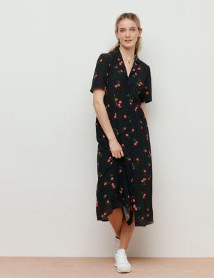 Printed V-Neck Midaxi Shirt Dress