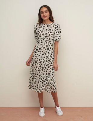 Star Print Puff Sleeve Midi Waisted Dress