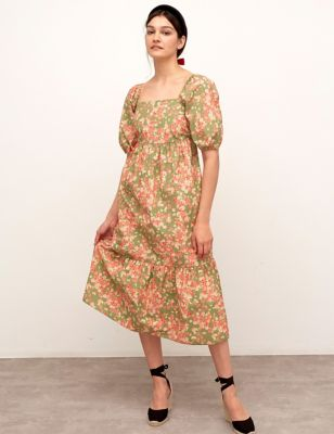 Organic Cotton Floral Midaxi Tiered Dress