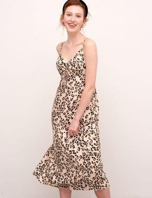 Animal Print V-Neck Midaxi Slip Dress