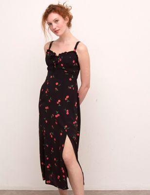 Printed Square Neck Midaxi Tea Dress