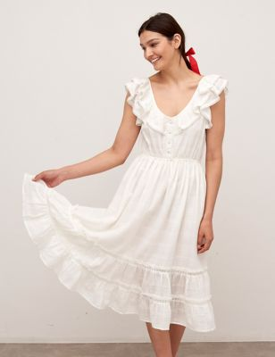 Cotton V-Neck Frill Detail Midaxi Tea Dress