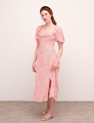 Animal Print Square Neck Midaxi Tea Dress